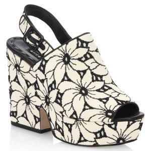 Alice + Olivia Charlize Floral Lacquered Cork Heel